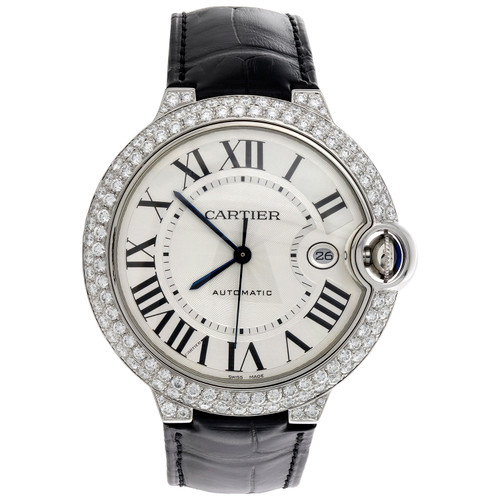 Ballon Bleu De Cartier 42mm Silver Dial Diamond Watch Ref. # W69016Z4 3.50 CT.