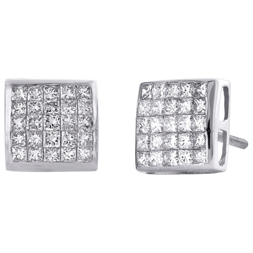 14K White Gold Princess Cut Diamond Dome Square Stud Invisible Earrings 1.25 CT.