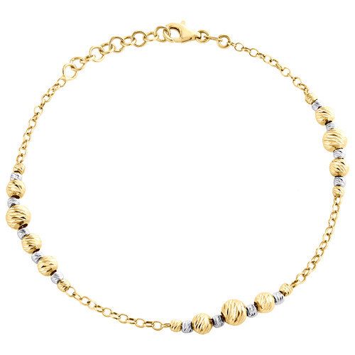 14K Multi Tone Gold 5mm Fancy Moon Cut Beaded & Cable Link Statement Bracelet 8""
