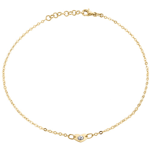 "14K Yellow Gold Fancy Cable Link Love & Heart Moon Cut Bead Anklet 9.50""+1"" Ext."