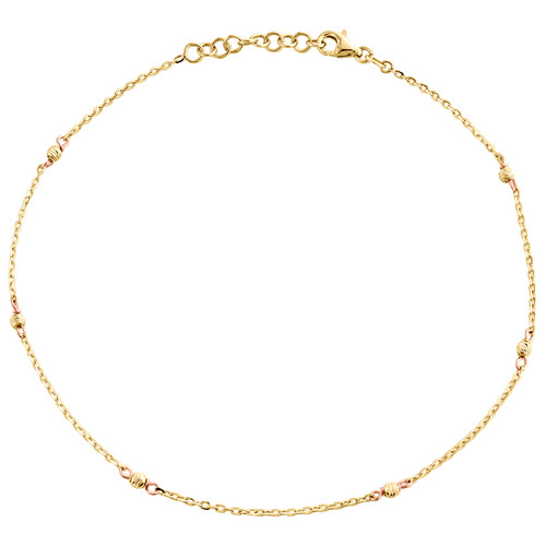 """14K Yellow & Rose Gold Fancy Cable Link Moon Cut Beaded Anklet 9.50""""+1"""" Ext."""