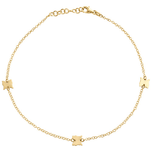 """14K Yellow Gold Fancy Rolo Link Statement Butterfly Charm Anklet 9.50""""+1"""" Ext."""