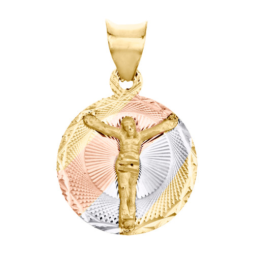 "14K Tri-Color Gold Diamond Cut Texture Jesus Crucifix Circle Pendant 0.75"" Charm"
