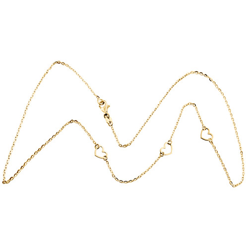 """14K Yellow Gold Italian Love Hearts Cutout Statement Cable Chain Necklace 18"""""""