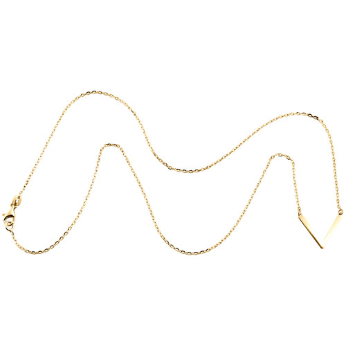 14K Yellow Gold Italian Letter V Initial  Statement Cable Chain Necklace 18""