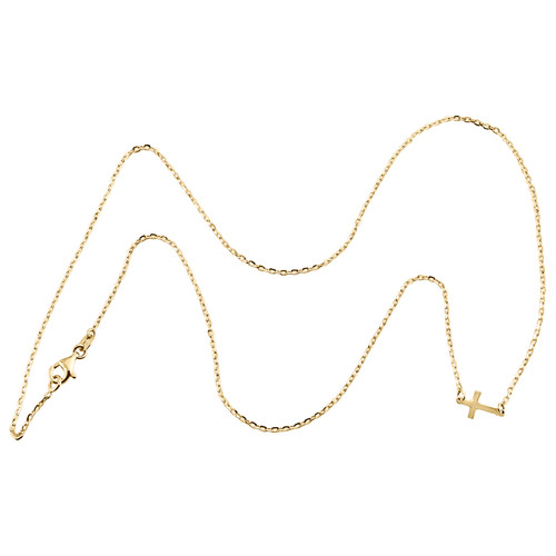"""14K Yellow Gold Italian Sideways Cross Statement Cable Link Chain Necklace 18"""""""