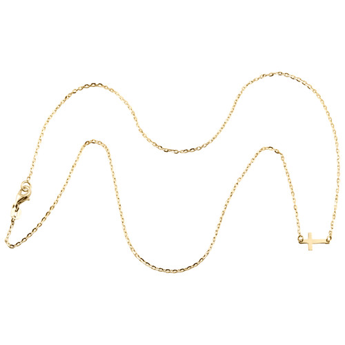 """14K Yellow Gold Italian Sideways Cross Statement Fancy Cable Link Chain Necklace 18"""""""