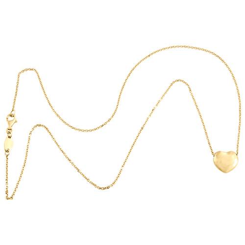 "14K Yellow Gold Fancy Puff Love Heart Italian Rolo Chain Statement Necklace 18"""