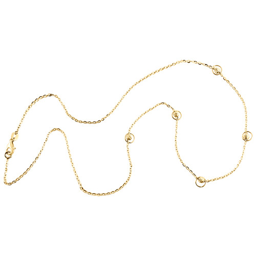 """14K Yellow Gold Fancy Moon Cut Beaded Italian Cable Chain Statement Necklace 18"""""""