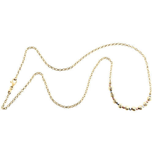 14K Tri-Color Gold Fancy Moon Cut Bead Italian Cable Chain Statement Necklace 18""