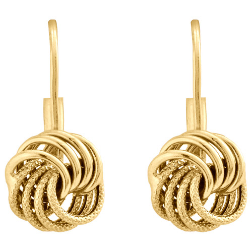 14K Yellow Gold Polished / Textured Fancy Love Knot Leverback Italian Earrings