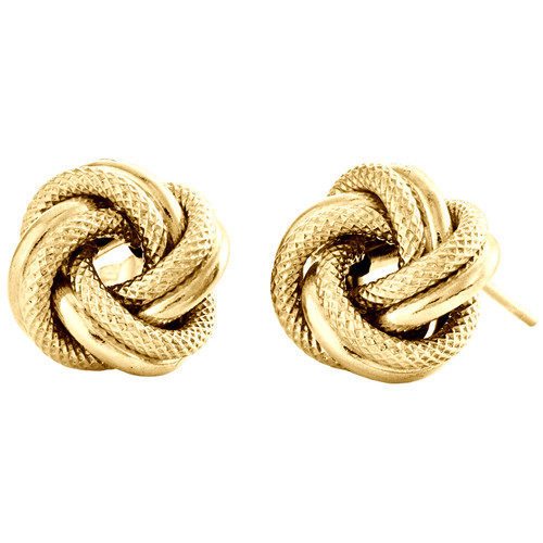 14K Yellow Gold Fancy Love Knot Earrings Polished Textured 11mm Italian Studs