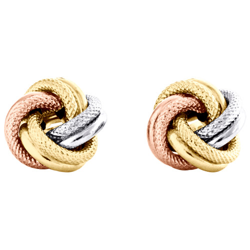 14K Tri-Color Gold Fancy Love Knot Earrings Polished Textured 11mm Italian Stud