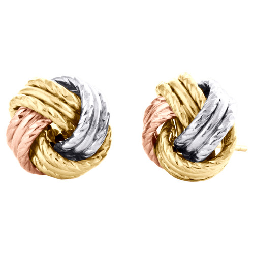 14K Tri-Color Gold Fancy Love Knot Earrings Polished Textured 11mm Italian Studs