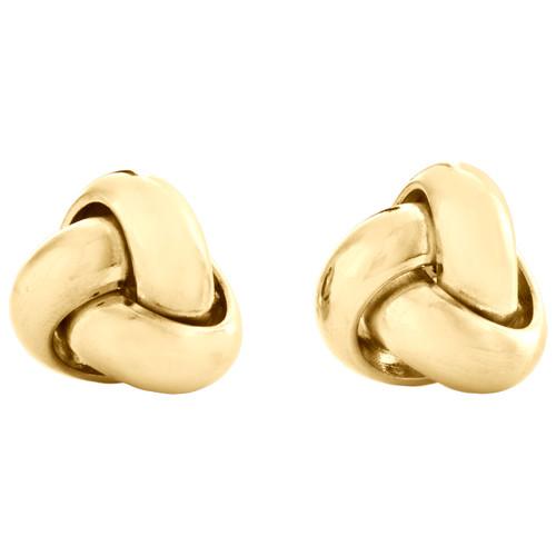 14K Yellow Gold Fancy Statement Love Knot Earrings Polished 10mm Italian Studs