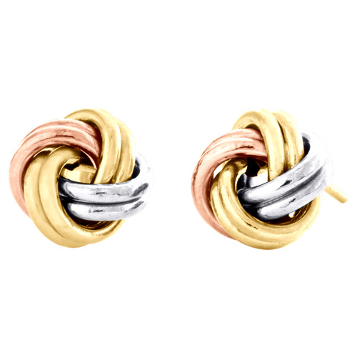 14K Tri-Color Gold Fancy Statement Love Knot Earrings Wired 9.25mm Italian Studs