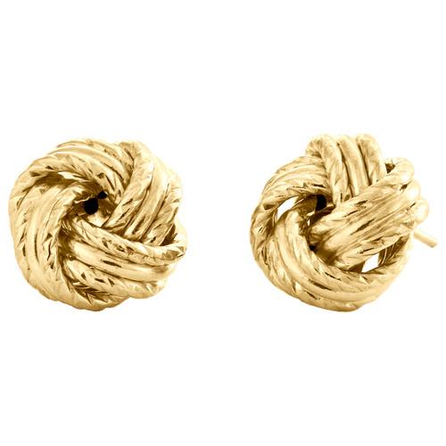 14K Yellow Gold Fancy Love Knot Earrings Polished Textured 11mm Italian Stud
