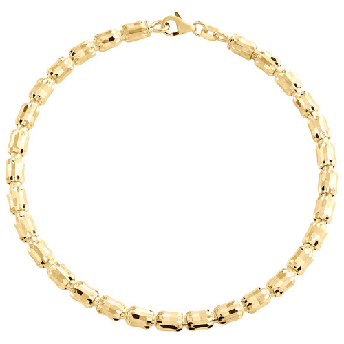 10K Yellow Gold 4mm Barrel Crystal Cut Italian Oval Bead Fancy Bracelet 8 Inch