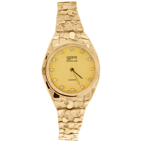 10K Yellow Gold Mens Geneve Classic 32mm Nugget Watch Black or Champagne Dial