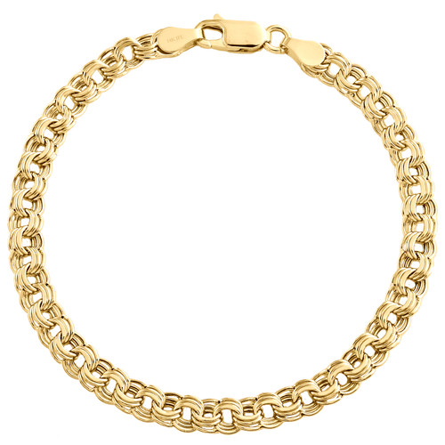 14K Yellow Gold 5mm Multi Rolo Double Cuban Italian Fancy Statement Bracelet 7""