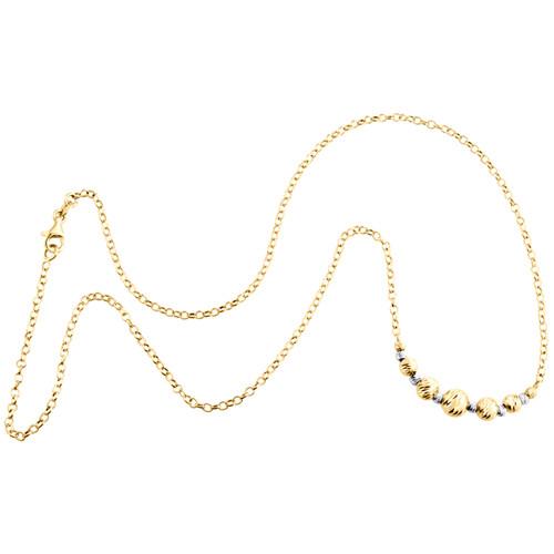 "14K Two-Tone Gold Fancy Moon Cut Bead Italian Rolo Chain Statement Necklace 18"""