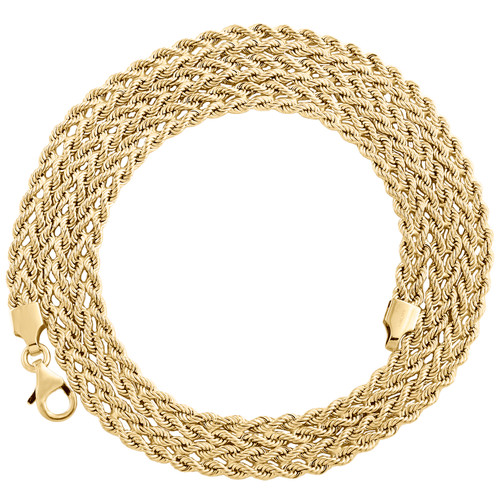 14K Yellow Gold 4.50mm Italian Twisted Double Rope Link Chain Fancy Necklace 18""