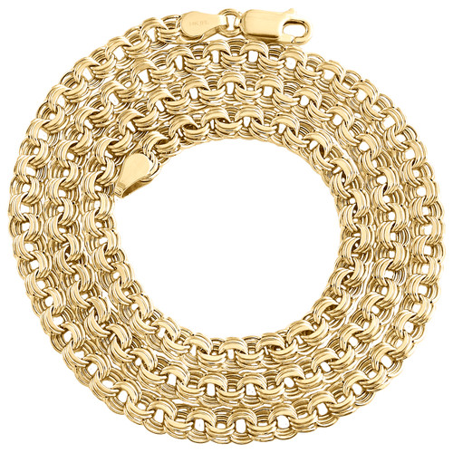 14K Yellow Gold 5mm Italian Triple Rolo Link Chain Fancy Textured Necklace 20""