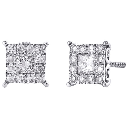 14K White Gold Princess Cut Real Diamond 4-Prong Earring 8mm Cluster Studs 1 CT.