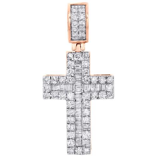 "10K Rose Gold Round & Baguette Diamond Fancy Cross Pendant 1.55"" Charm 1.62 CT."