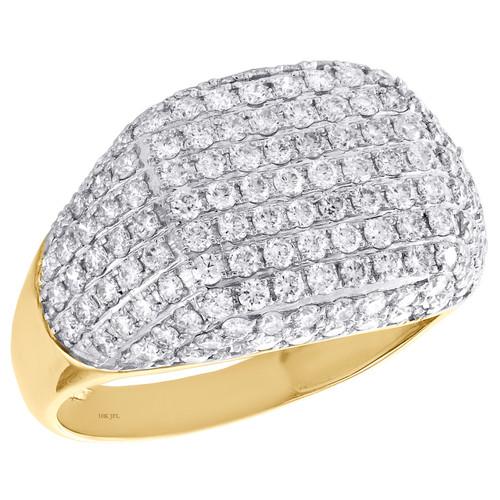10K Yellow Gold Round Diamond Statement Pinky Ring 14mm Mens Pave Band 2.25 CT.
