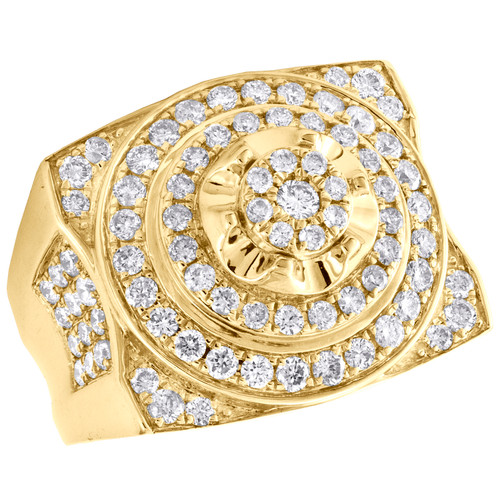 10K Yellow Gold Round Diamond Step Tier Circle Pinky Ring 20mm Pave Band 2.25 CT
