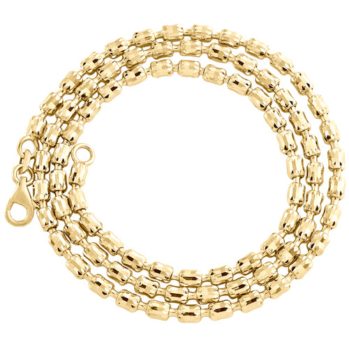 10K Yellow Gold 2.65mm Barrel Crystal Cut Italian Bead Chain Necklace 16-26 Inch