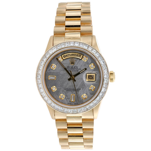 Rolex President Day-Date 36mm Princess Cut Diamond Custom Bezel Watch 4.80 CT.