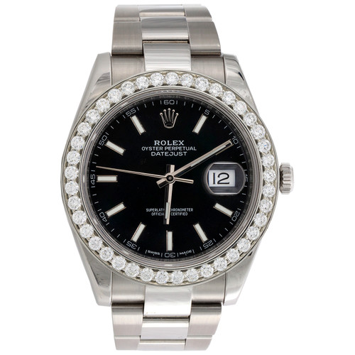 Mens Rolex DateJust 41 Daimond Watch Ref. # 126300 Black Stick Dial 2.98 CT.