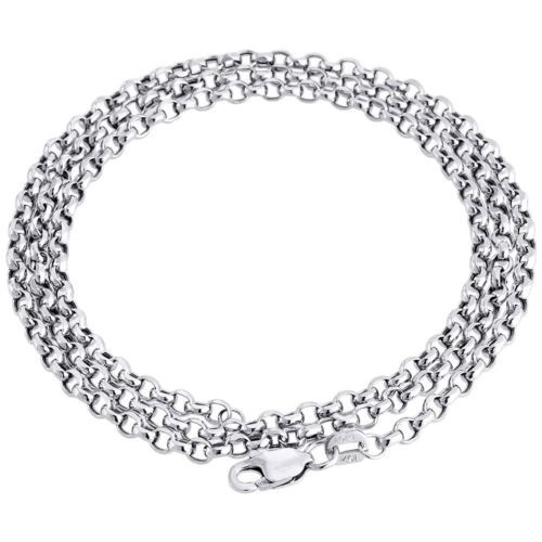 10k White Gold Open Link Rolo Chain 2.25 mm Necklace 18-28 Inches