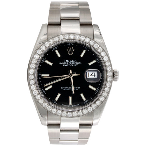 Mens Rolex DateJust 41 Diamond Watch Ref. # 126300 Black Stick Dial 2.03 CT.
