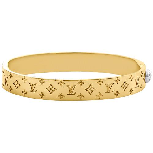 18K Yellow & White Gold Size 21cm Louis Vuitton Bangle Cuff LV Monogram Bracelet 10.50mm