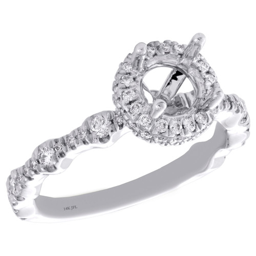 14K White Gold 1/2 CT Diamond Semi Mount Engagement Ring For 1CT Round Solitaire