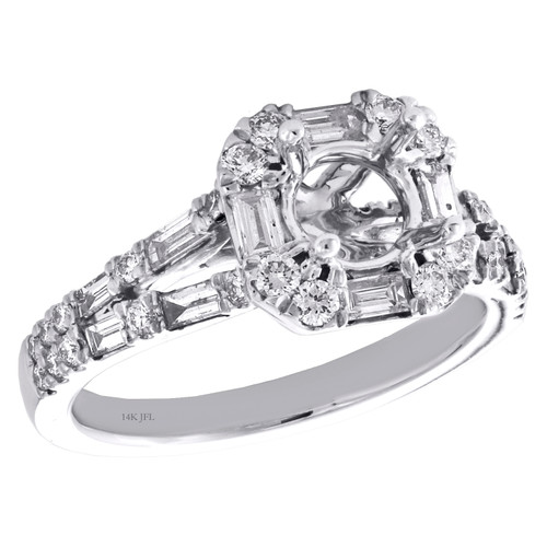 14K White Gold 1 CT Diamond Semi Mount Engagement Ring For 3/4CT Round Solitaire