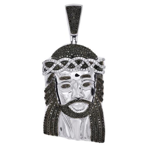 "Sterling Silver Real Black Diamond Jesus Face Pendant 2.50"" Mens Pave Charm 1 CT"