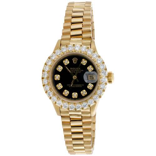 Rolex 18K Gold 26mm DateJust President 69178 VS Diamond Watch Black Dial 2.08 CT
