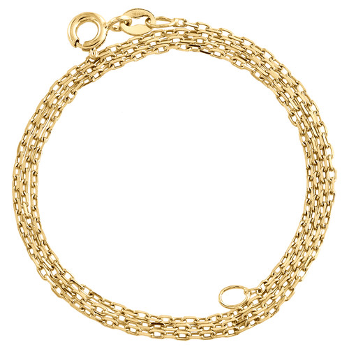 10K Yellow Gold 1.20mm Oval Link Cable Chain Fancy Italian Necklace 16 - 24 Inch