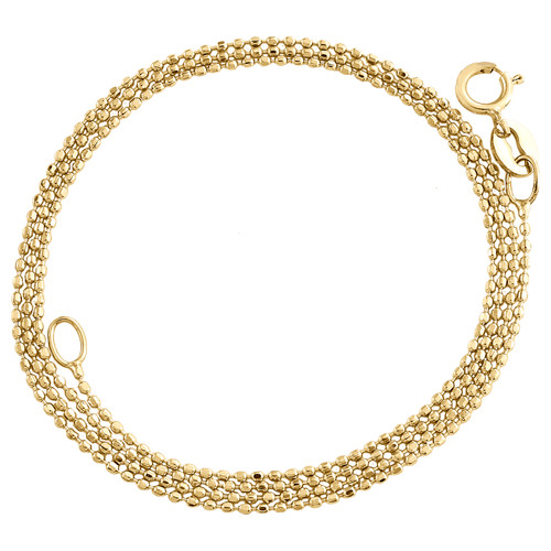 10K Yellow Gold 0.80mm Diamond Cut Beaded Chain Italian Necklace 16 - 24 Inches
