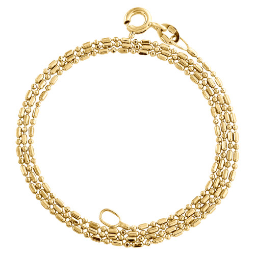 10K Yellow Gold 1mm Beaded Chain Fancy Italian Statement Necklace 16 - 24 Inch