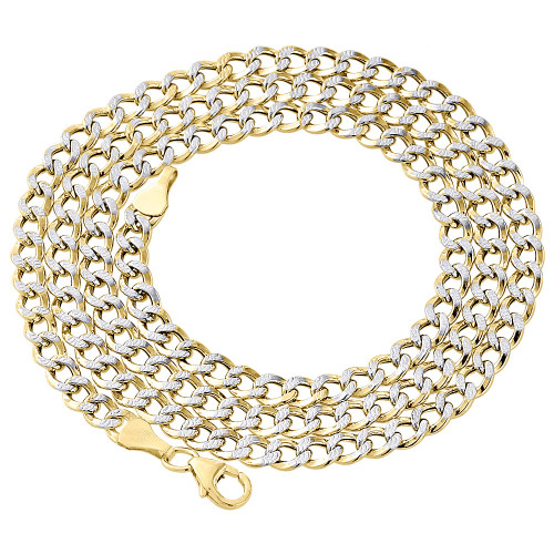 1/10th 10K Yellow Gold 4mm Diamond Cut Curb Cuban Chain Necklace 20- 30 Inch