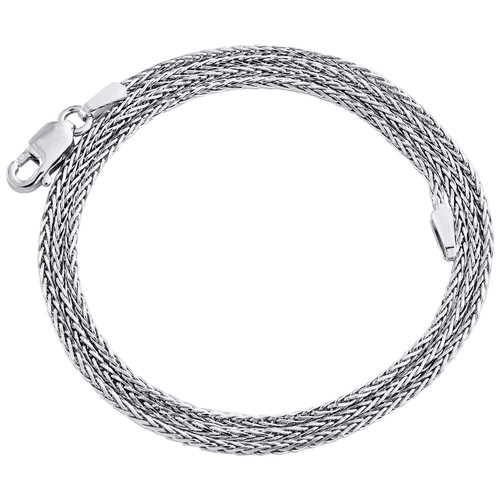 10K White Gold 1mm Round Spiga Link Chain Fancy Italian Necklace 16 - 24 Inches