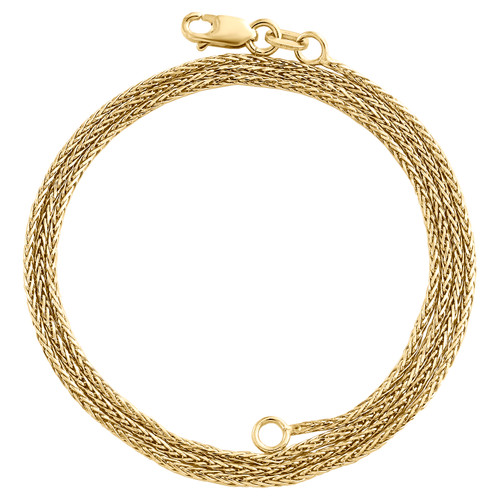 10K Yellow Gold 1mm Round Spiga Link Chain Fancy Italian Necklace 16 - 24 Inches