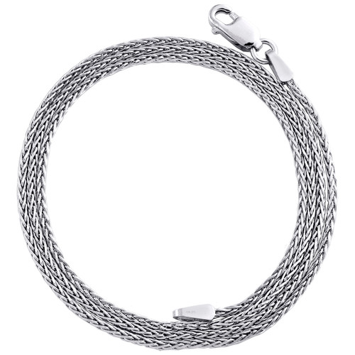 10K White Gold 1.25mm Round Spiga Link Chain Fancy Italian Necklace 16 - 24 Inch