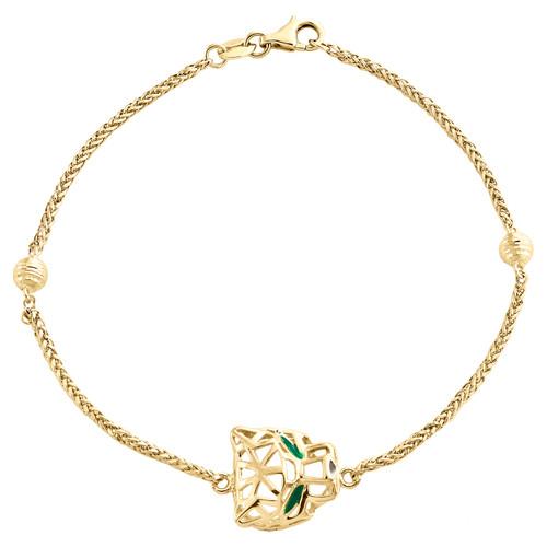 "14K Yellow Gold Beaded Wheat Link Panther Head Italian Statement Bracelet 6.75"""
