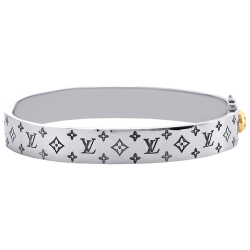 18K White Two Tone Gold Size 21cm Louis Vuitton Bangle Cuff LV Monogram Bracelet 10.50mm